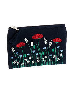 Embroidered Poppy Coin Purse
