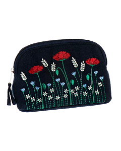 Small Embroidered Poppy Cosmetic Bag