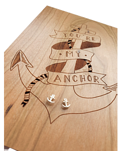 Anchor Earrings On Wooden Card